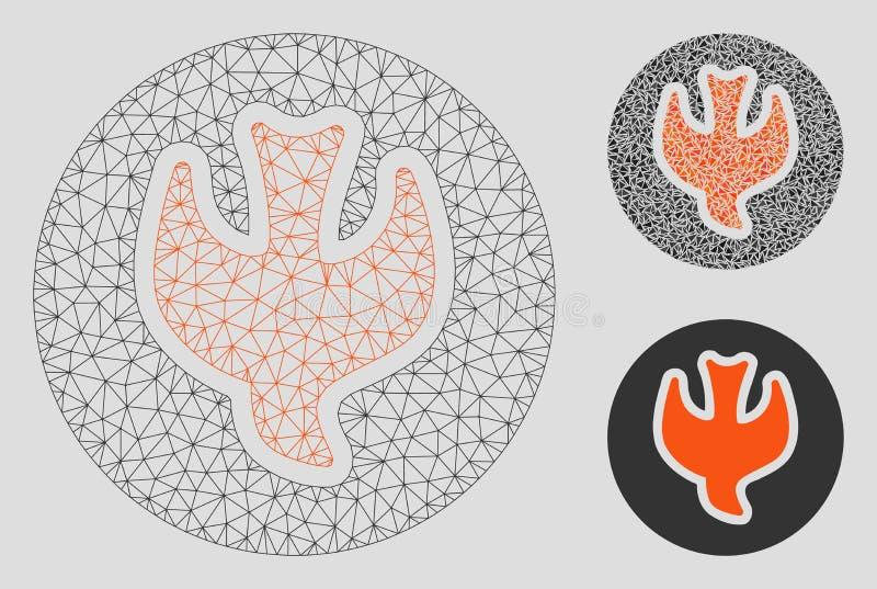 Падая значок мозаики и треугольника каркасной модели сетки вектора души иллюстрация штока