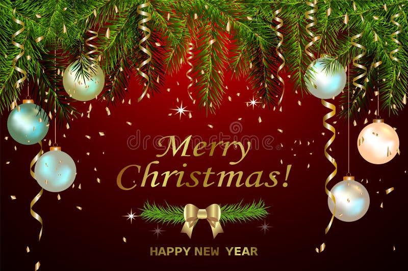 Падая золотой confetti Золото помечая буквами веселое рождество и С Новым Годом! Иллюстрация вектора для поздравительной открытки иллюстрация вектора