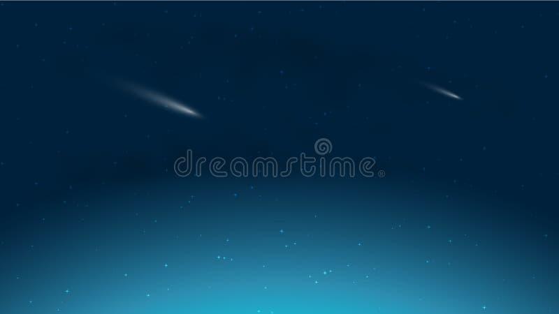 Падая кометы в небе ночи звездном иллюстрация вектора