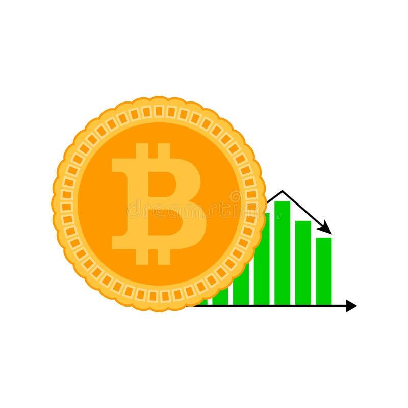 Падая конечно bitcoin иллюстрация вектора