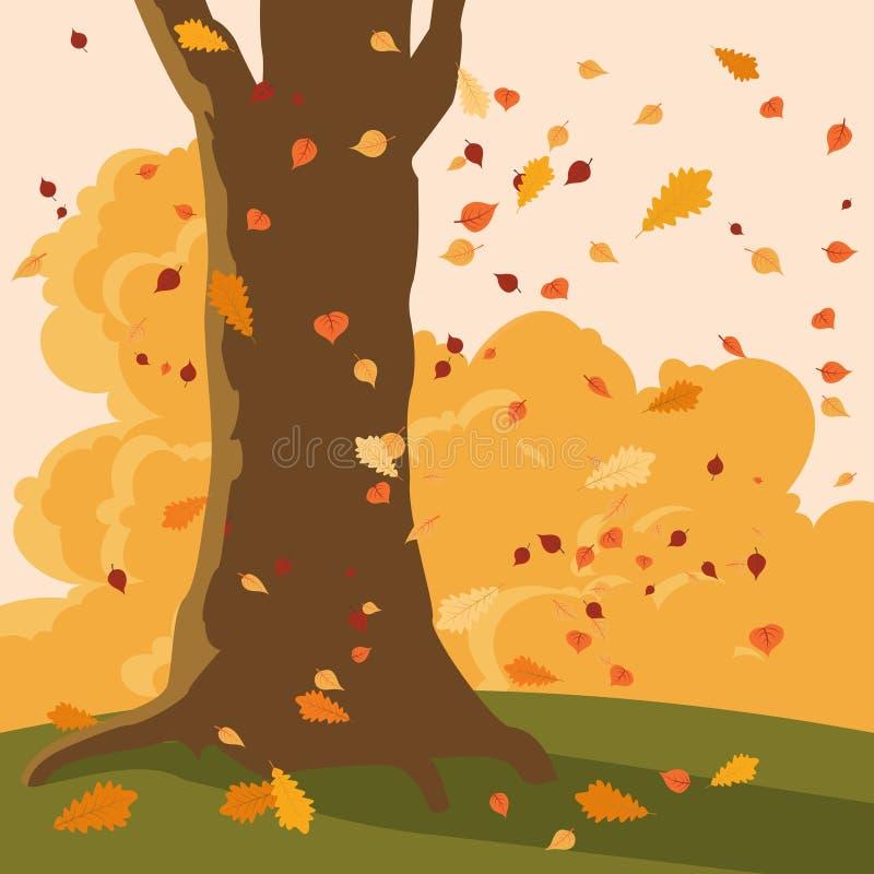 Падая листья и дерево осени иллюстрация штока