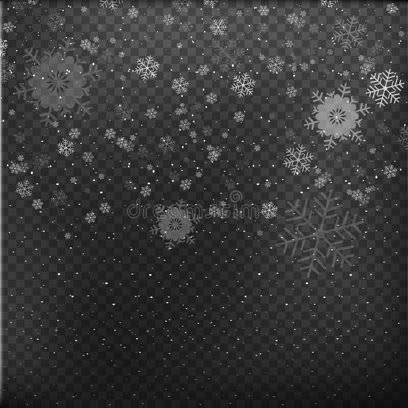 Падая снежинки на серой предпосылке снежок рождества снежности Зима приходит зима белизны снежинок предпосылки голубая также вект бесплатная иллюстрация