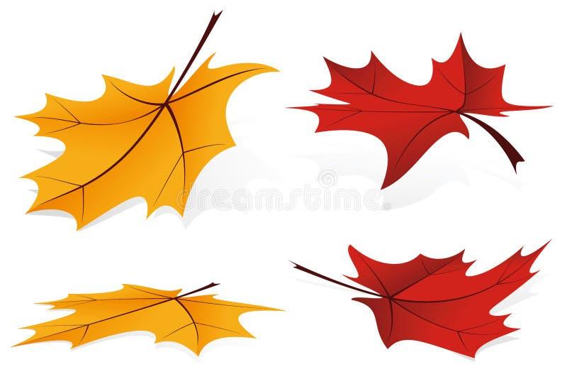 падая установленные листья иконы иллюстрация штока