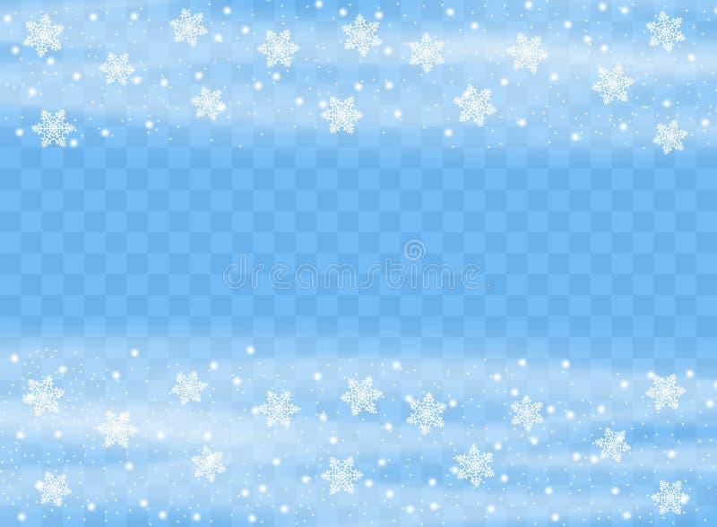 Падая хлопья снежинок на изолированной предпосылке, вьюге с ветром Элемент дизайна верхнего слоя рождество украшает идеи украшени иллюстрация штока