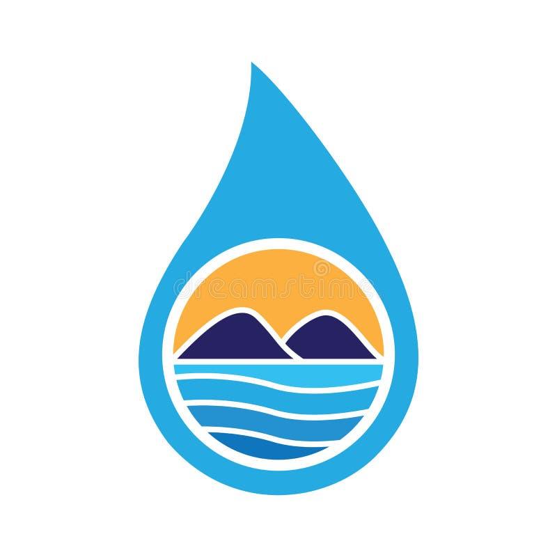 Падение воды благоустраивая вектор логотипа иллюстрация вектора
