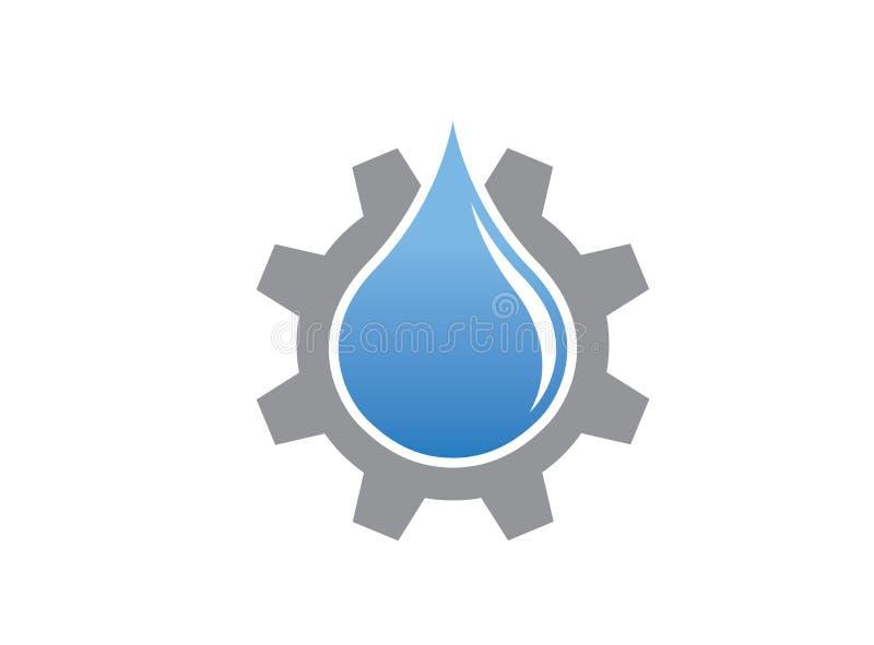 Падение воды внутри шестерни для вектора иллюстрации дизайна логотипа бесплатная иллюстрация