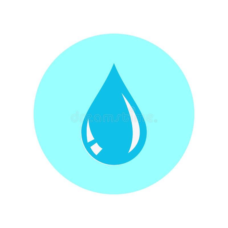 Падение воды икона Иллюстрация вектора изолированная на белой предпосылке Плоский дизайн иллюстрация штока