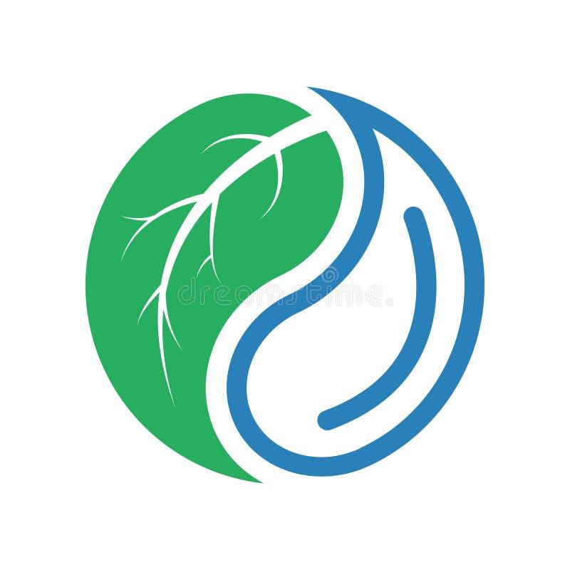 Падение воды и логотип концепции лист также вектор иллюстрации притяжки corel стоковые фото