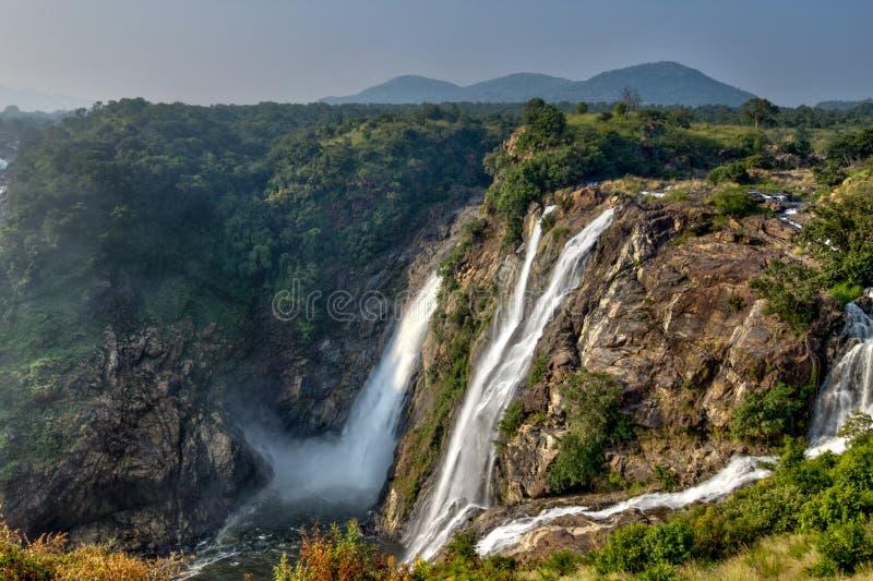 Падение воды Shivanasamudra в положение Karnataka Индии стоковое фото