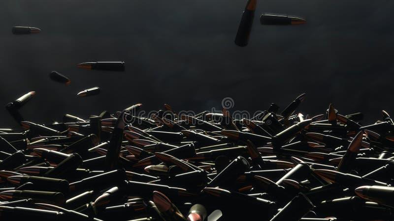 Падение много пуль на таблицу На заднем плане темная стена стоковые фотографии rf