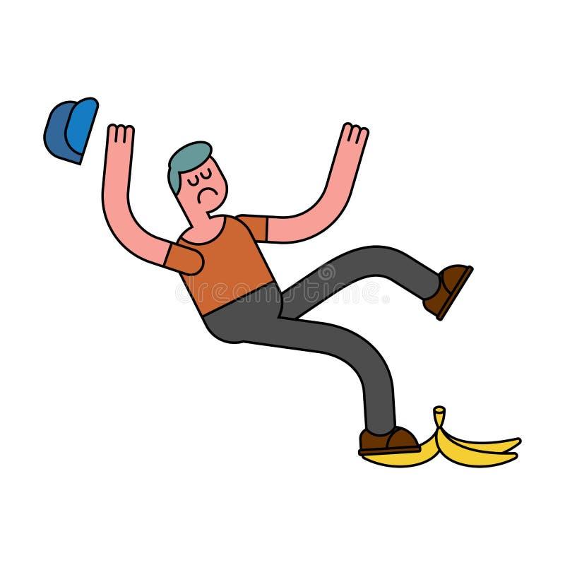Падение на банан Выскальзывание на корке банана плюхнутый парень Человек упал иллюстрация вектора