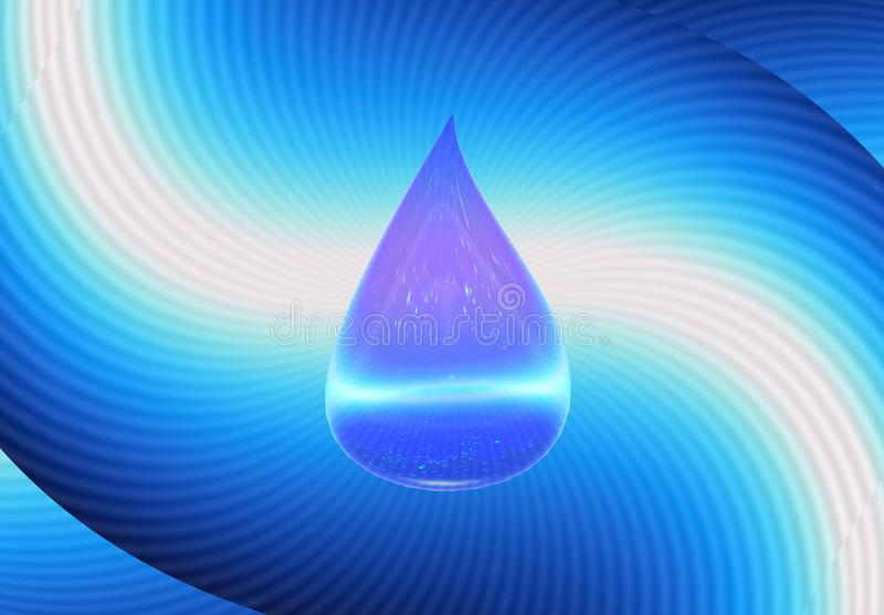 падение символа H2O воды иллюстрация 3d иллюстрация вектора