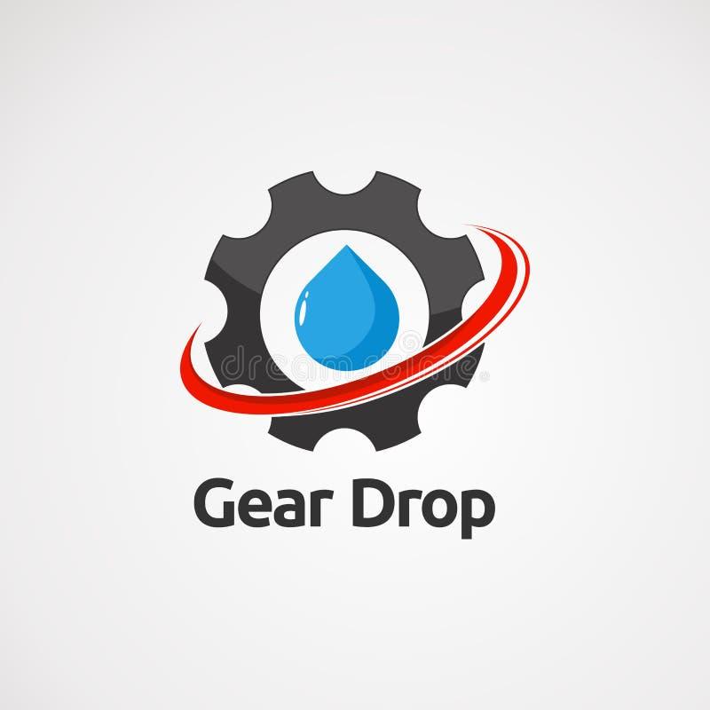 Падение шестерни с красными вектором, значком, элементом, и шаблоном логотипа swoosh для компании иллюстрация штока