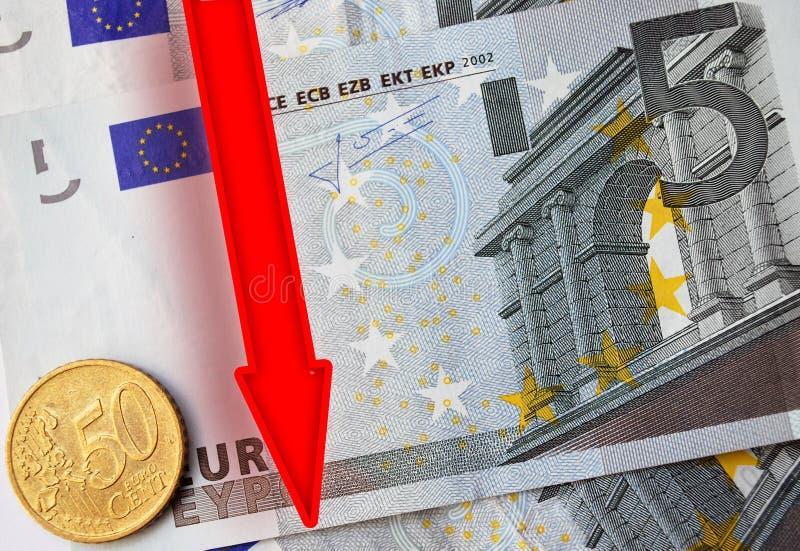 падения евро иллюстрация штока