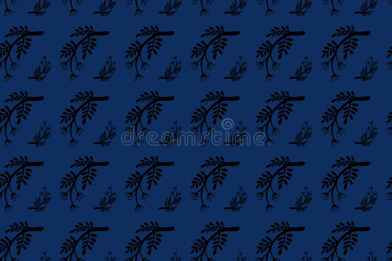 Падения осени лист ветви руки картина вычерченного флористического безшовная Черным по белому или покрашенная предпосылка Дерево, стоковая фотография rf