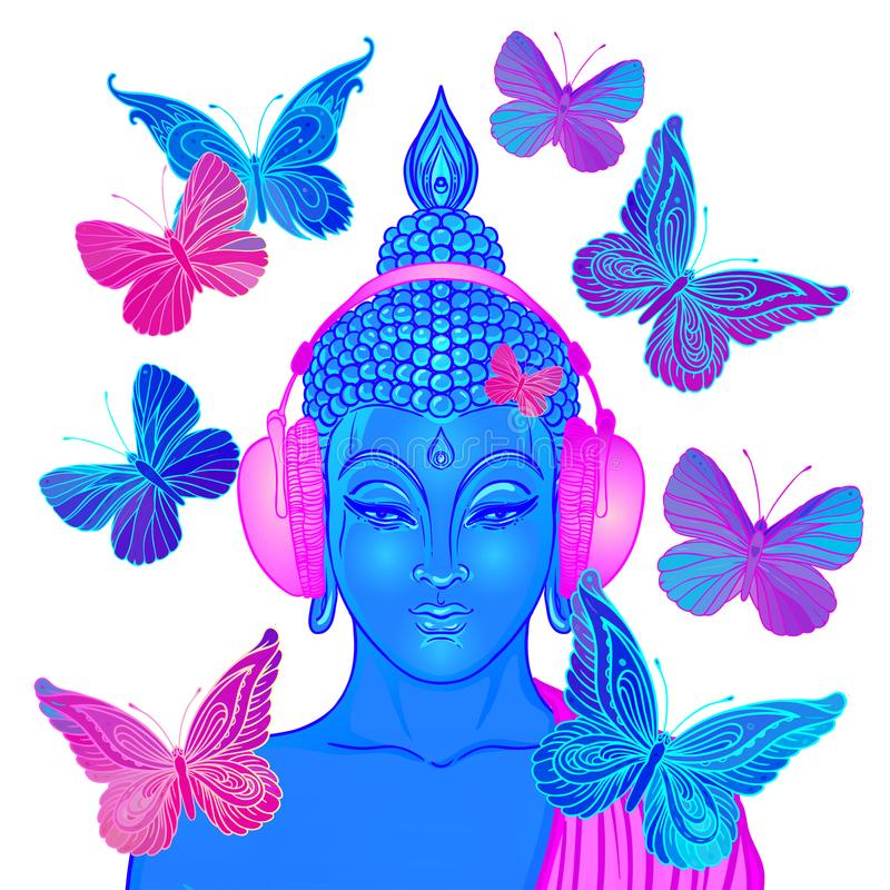 паз Современный Будда слушая к музыке в surro наушников иллюстрация вектора