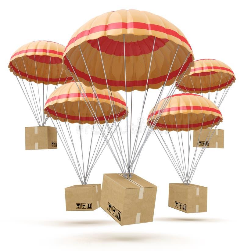 Пакеты летая вниз от неба с парашютами, обслуживания поставки иллюстрация штока