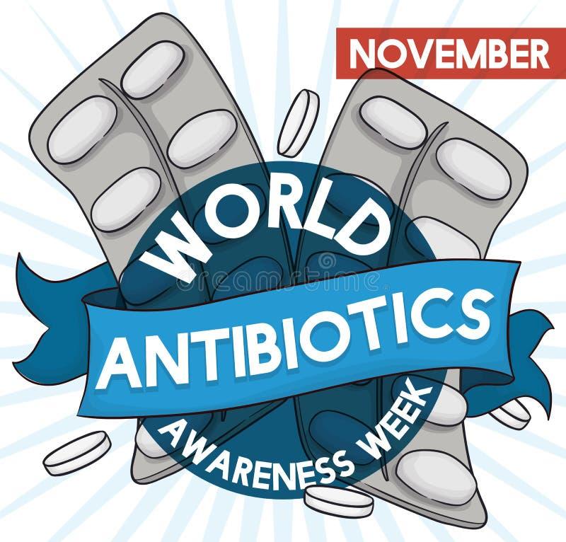 Пакеты и пилюльки волдыря с лентой на антибиотическая неделя осведомленности, иллюстрация вектора иллюстрация вектора