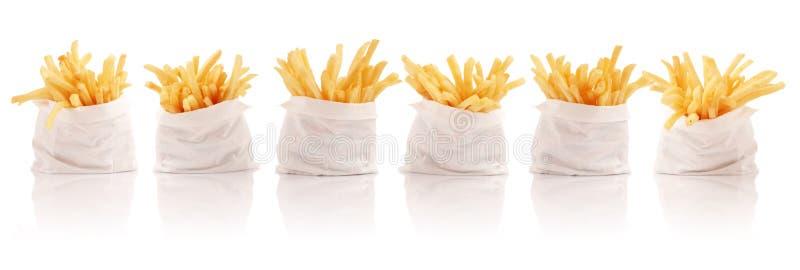 пакеты fries франчуза стоковое фото rf