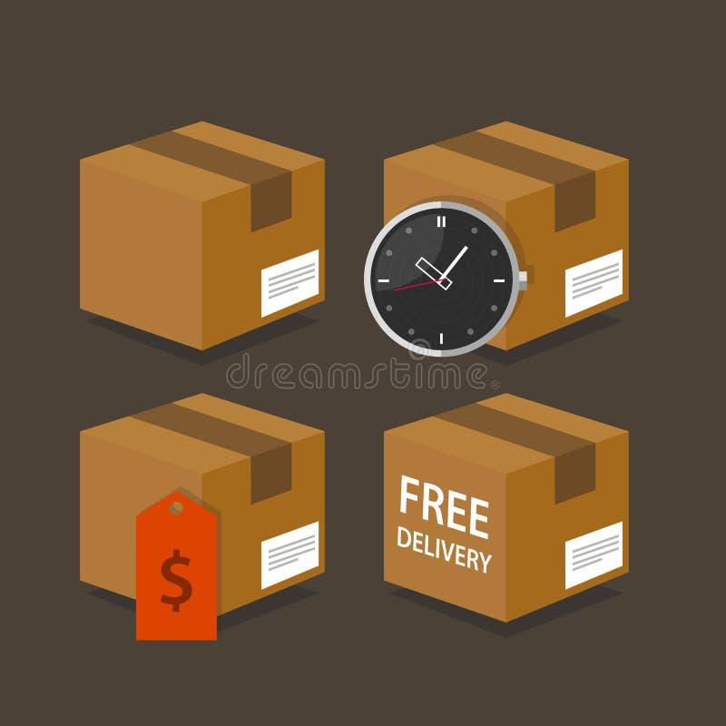 Пакет бесплатной доставки цены времени коробки поставки быстрый иллюстрация штока