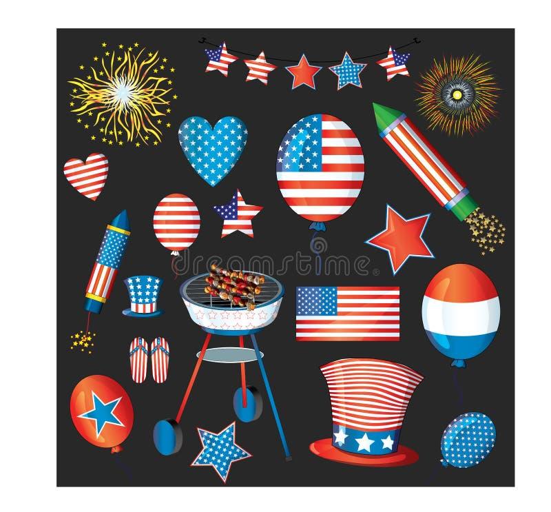 Пакет вектора Дня независимости феиэрверки четвертое -го июль Флаг США, шляпа цилиндра, воздушные шары, звезда, сердца, темповое  иллюстрация вектора