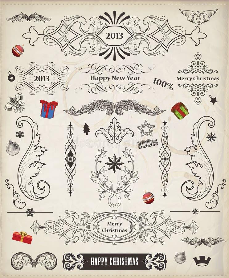 Пакет вектора рождества винтажный декоративных elemen иллюстрация вектора