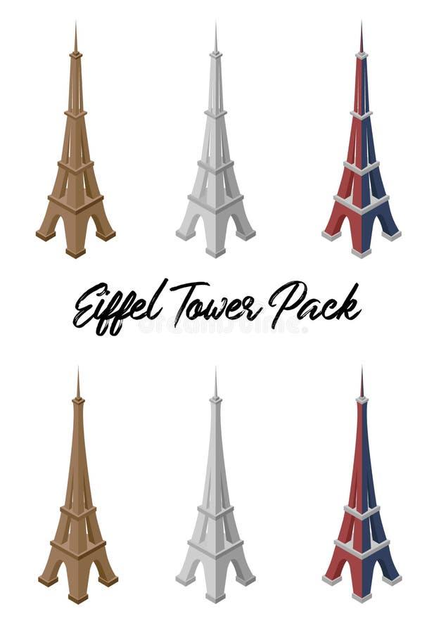 Пакет вектора Эйфелевой башни иллюстрация вектора