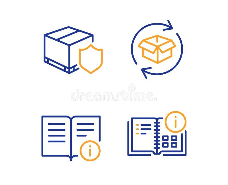 Пакет возвращения, техническая информация и страхование доставки набор значков Знак данным по инструкции r бесплатная иллюстрация