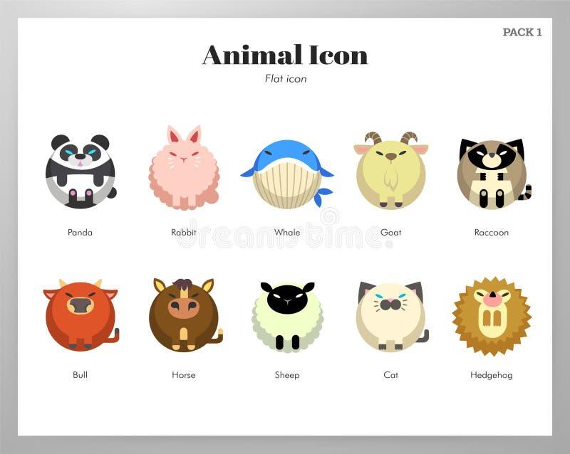 Пакет животного значка плоский иллюстрация вектора