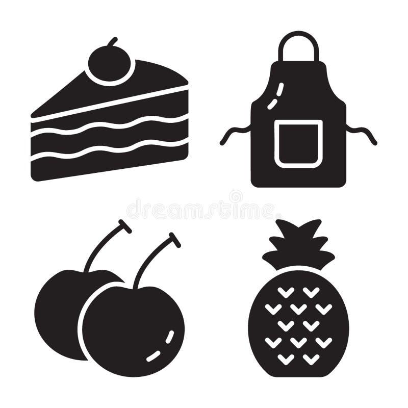 Пакет значков еды твердых бесплатная иллюстрация