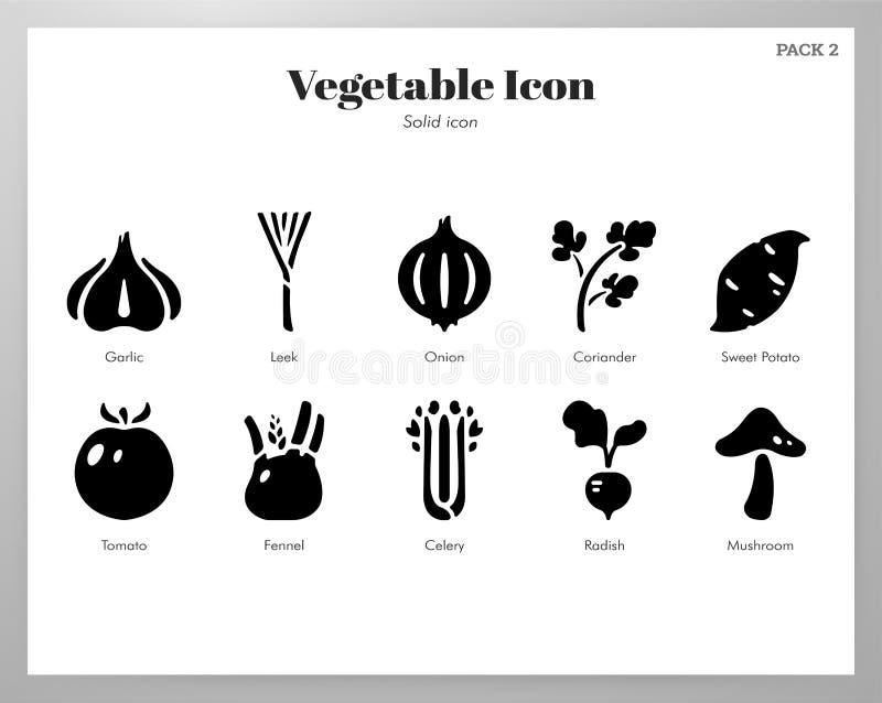 Пакет значков овоща твердый бесплатная иллюстрация