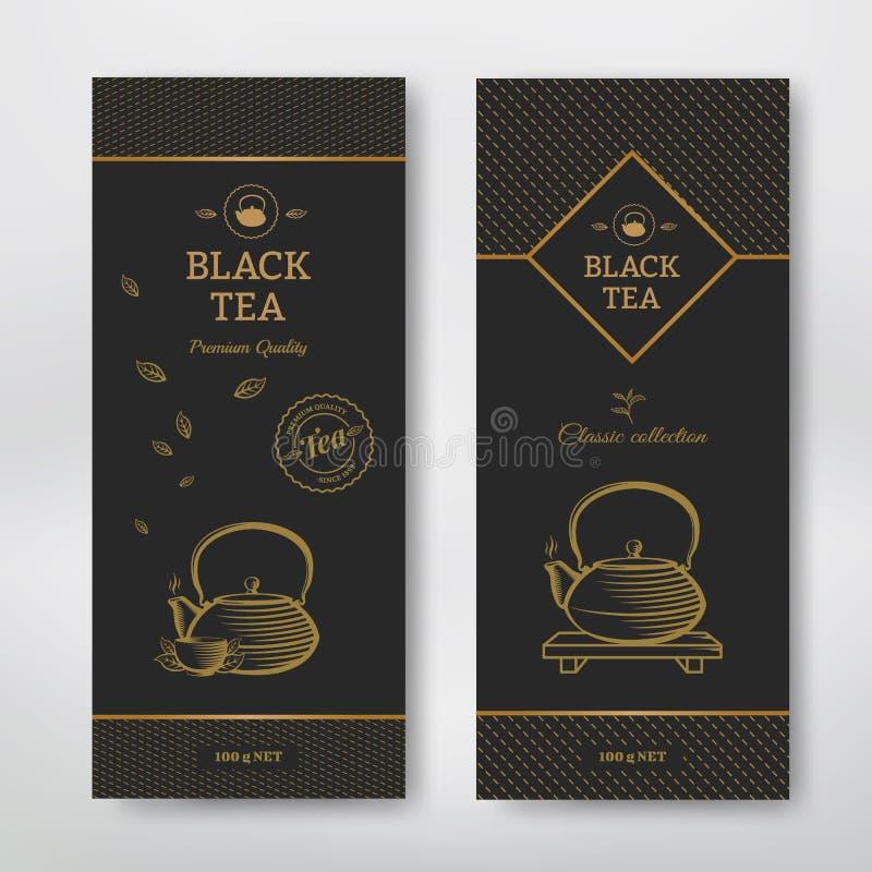 Пакет дизайна черного чая бесплатная иллюстрация