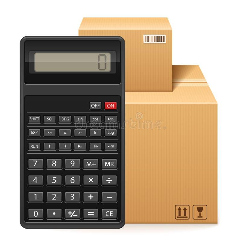 Пакет и калькулятор 2 картонных коробок иллюстрация штока