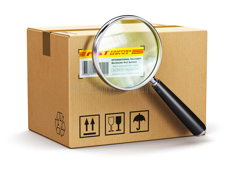Пакет картонной коробки с отслеживая номером и лупой иллюстрация вектора