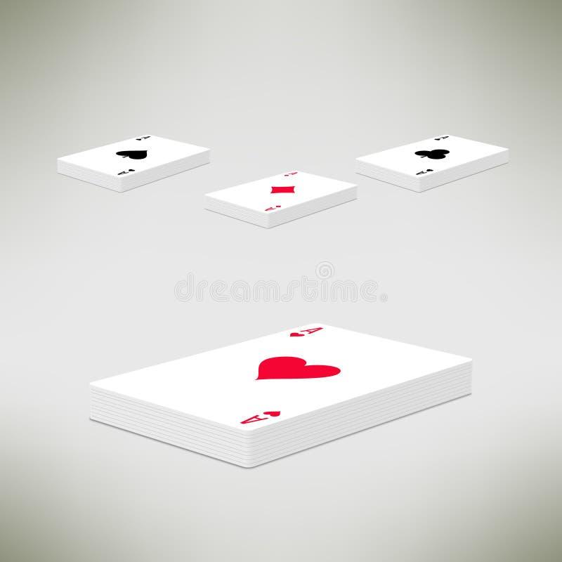 Пакет карт играя с тузом на верхней части в реалистическом иллюстрация штока