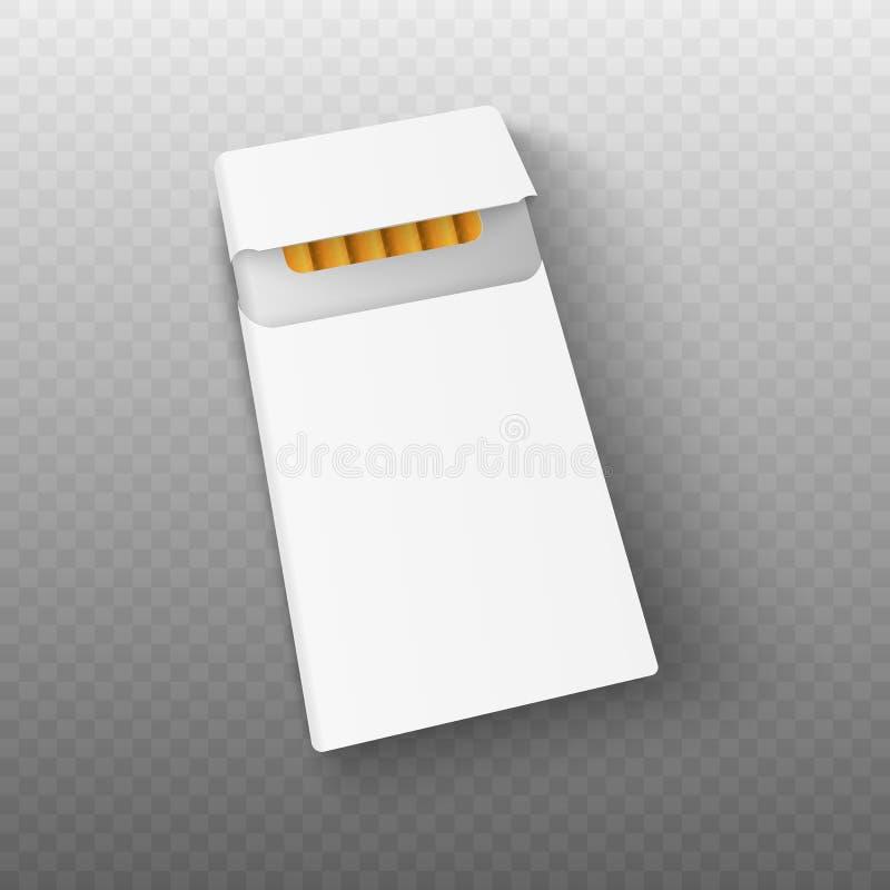 Пакет модель-макета 3d реалистический сигарет вектор иллюстрация вектора