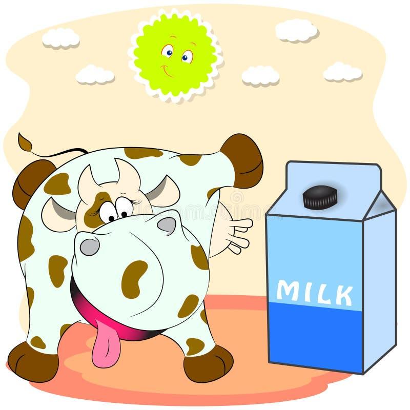 Пакет молока и запятнанной коровы r бесплатная иллюстрация