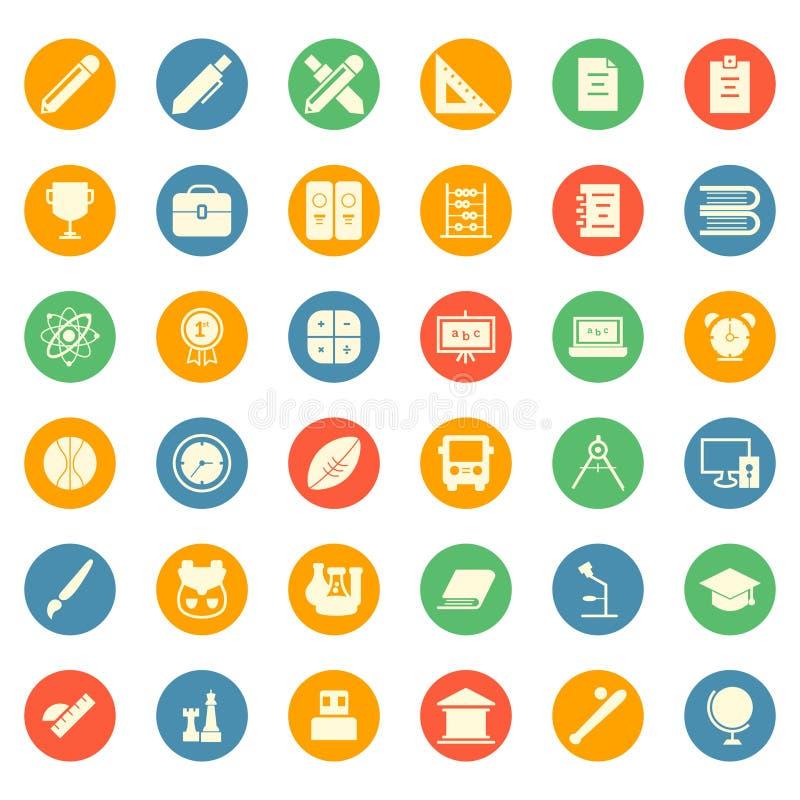 Пакет набора символа значка исследования школы образования - плоский круг иллюстрация вектора