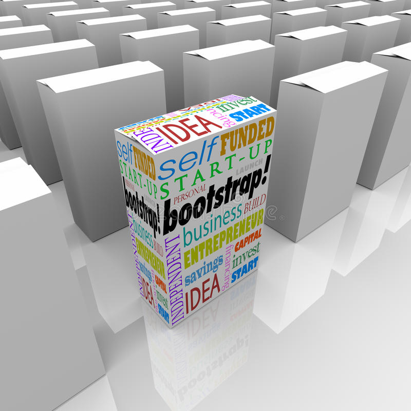 Пакет нового продукта бутстрэпа много коробок уникально Busi финансированное собственной личностью бесплатная иллюстрация