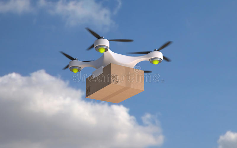 Пакет нося коробки трутня иллюстрация вектора