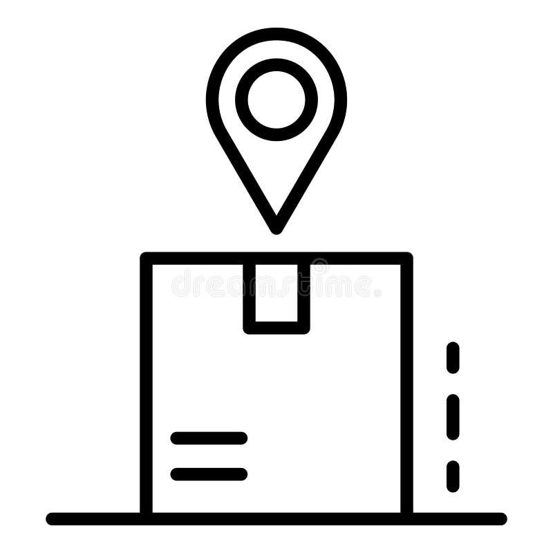 Пакет отслеживая значок, стиль плана иллюстрация вектора