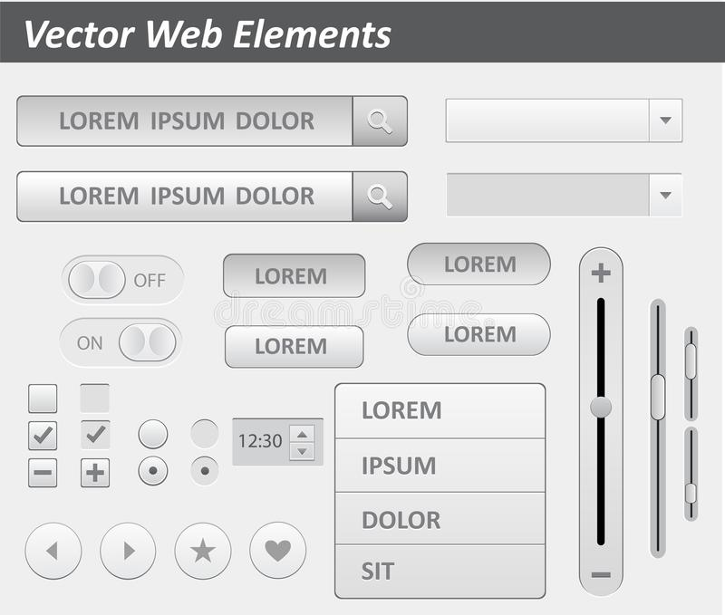 Пакет плоского вектора набора ui дизайна для webdesign в розовом цвете Введите плоский комплект в моду элементов дизайна набора u иллюстрация штока