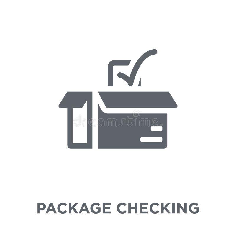 Пакет проверяя значок от доставки и логистического собрания иллюстрация вектора