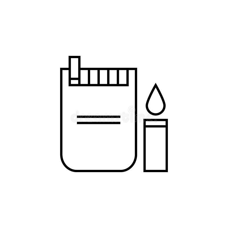 пакет сигарет с значком лихтера сигареты Элемент для передвижных apps концепции и сети Тонкая линия значок для дизайна вебсайта иллюстрация вектора