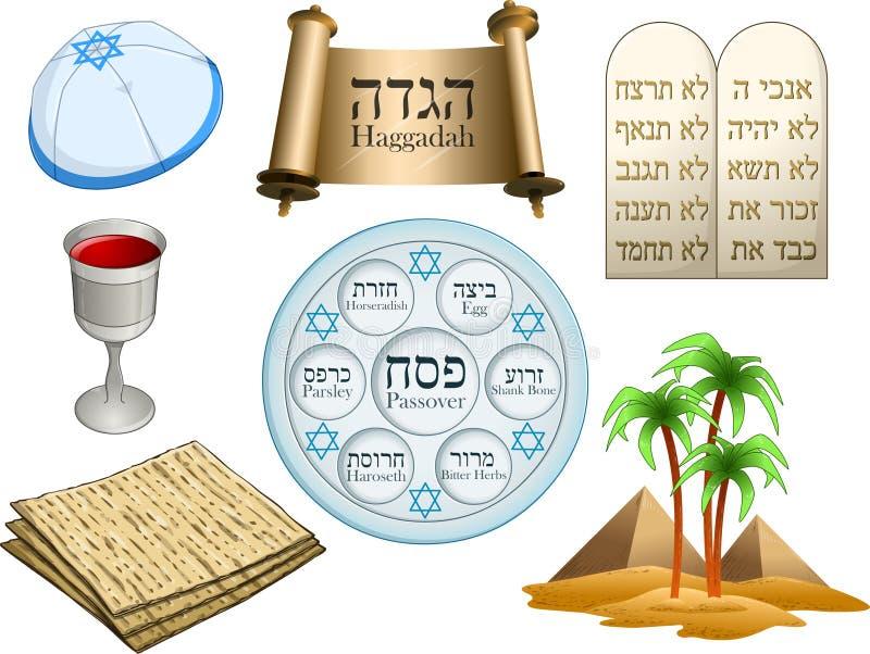 Пакет символов еврейской пасхи иллюстрация штока