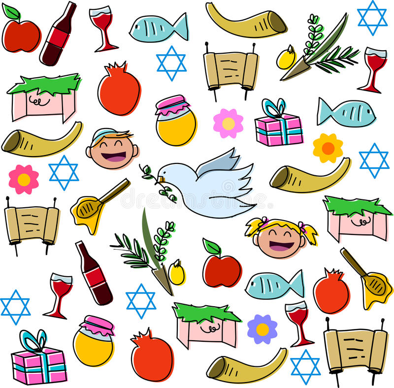 Пакет символов праздников Rosh Hashanah бесплатная иллюстрация