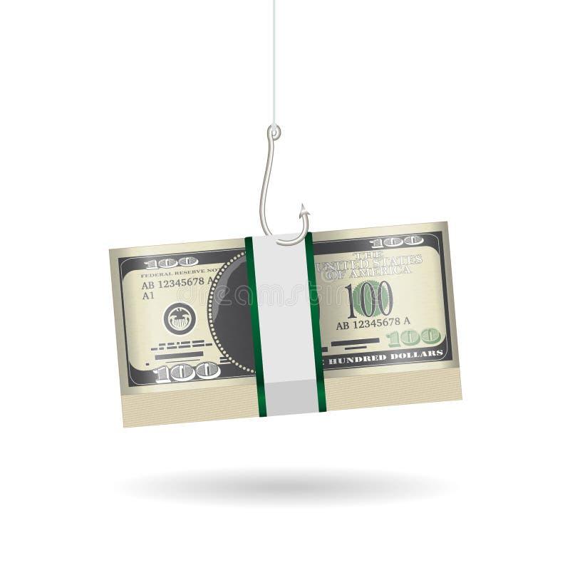 Пакет удя крюка phishing банкноты доллара иллюстрация вектора