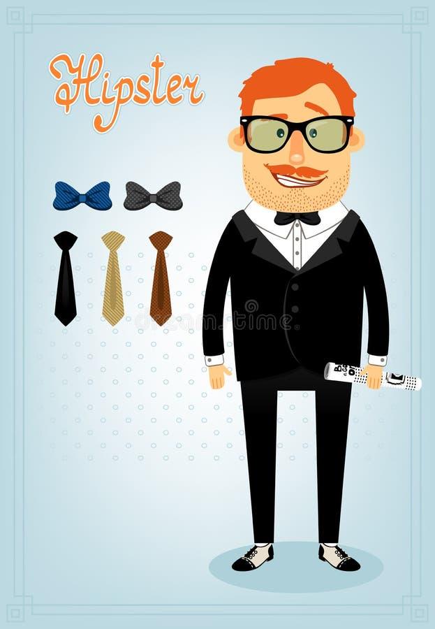 Пакет характера битника для бизнесмена иллюстрация вектора