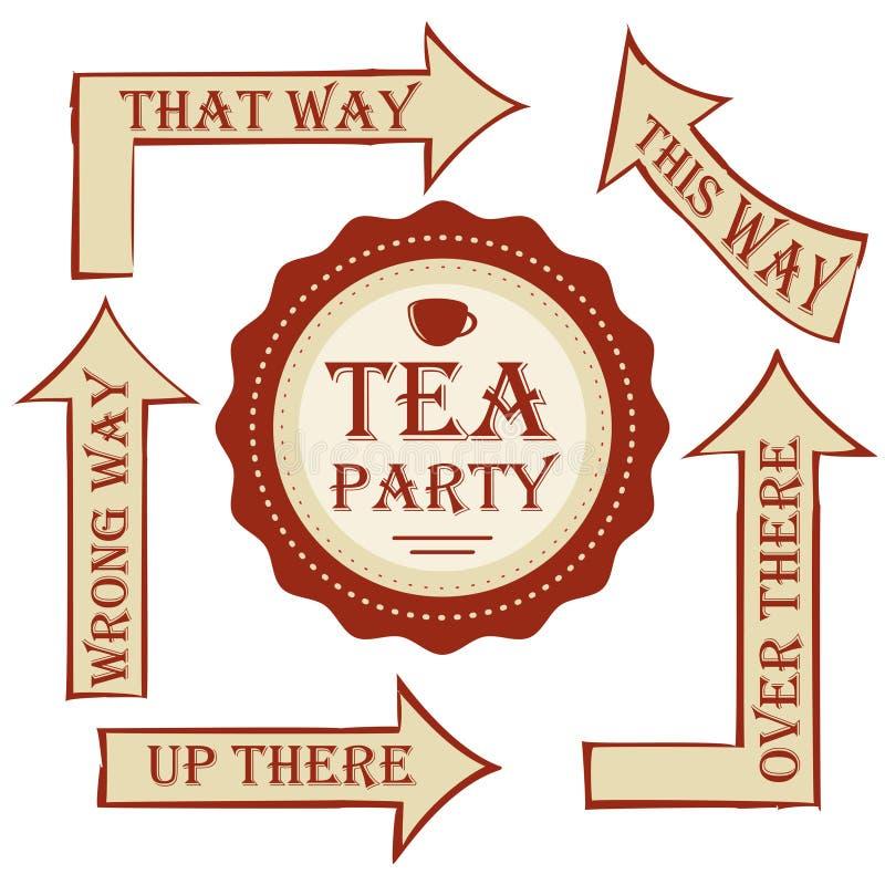Пакет чаепития указатель вектора установленный с стикером украсьте свадьбу или вечеринку по случаю дня рождения в стиле Алисе в с иллюстрация вектора