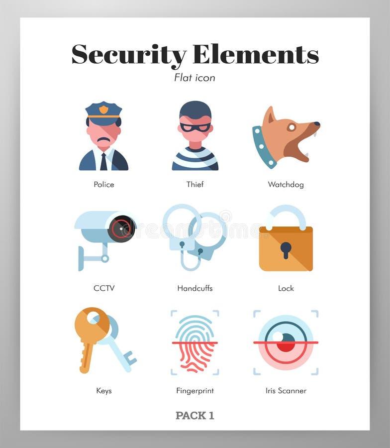 Пакет элементов безопасностью плоский иллюстрация вектора